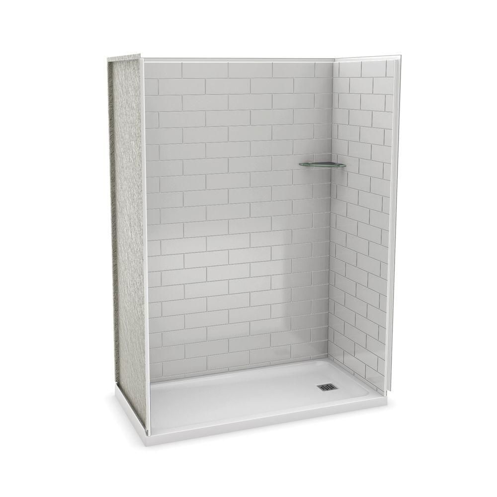MAAX Utile 60 Inch Metro Soft Grey Right Hand Alcove Shower Kit