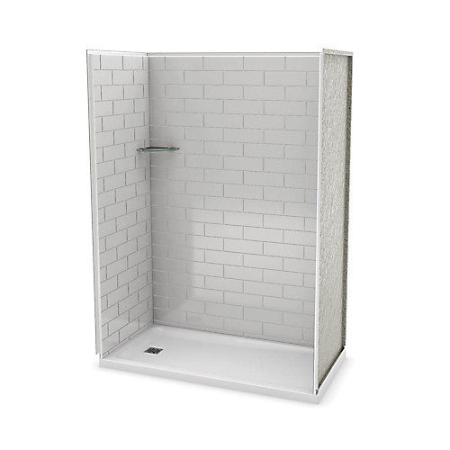 Utile 60 Inch Metro Soft Grey Left Hand Alcove Shower Kit