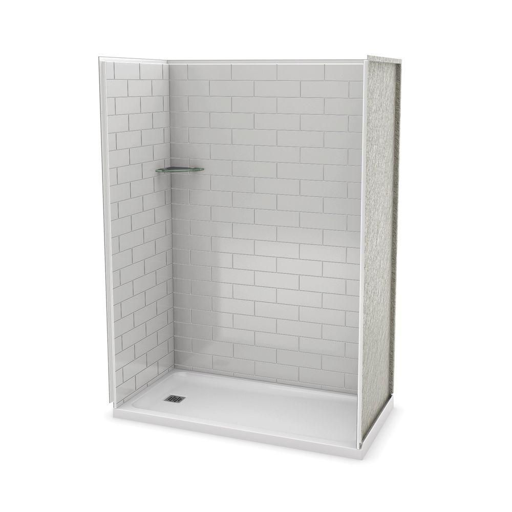 MAAX Utile 60 Inch Metro Soft Grey Left Hand Alcove Shower Kit