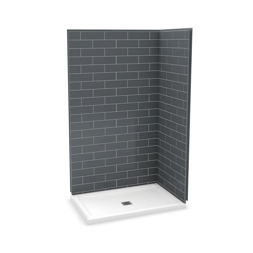 MAAX Utile 48 Inch Metro Thunder Grey Corner Shower Kit