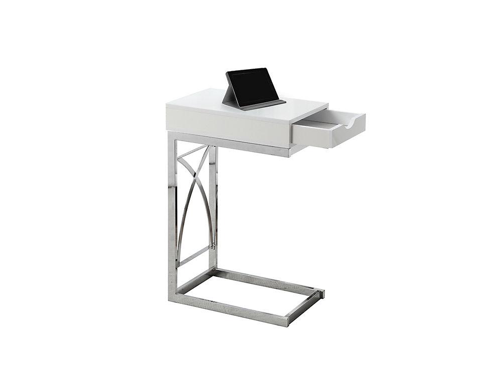 Table D'Appoint - Metal Chrome / Blanc Lustre Et Tiroir