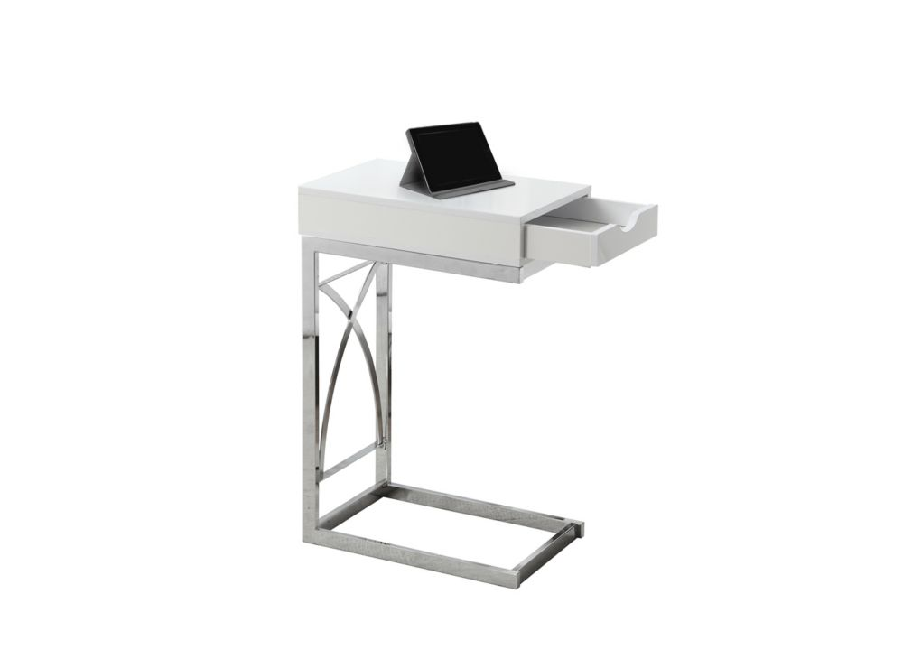 Table D'Appoint - Metal Chrome / Blanc Lustre Et Tiroir