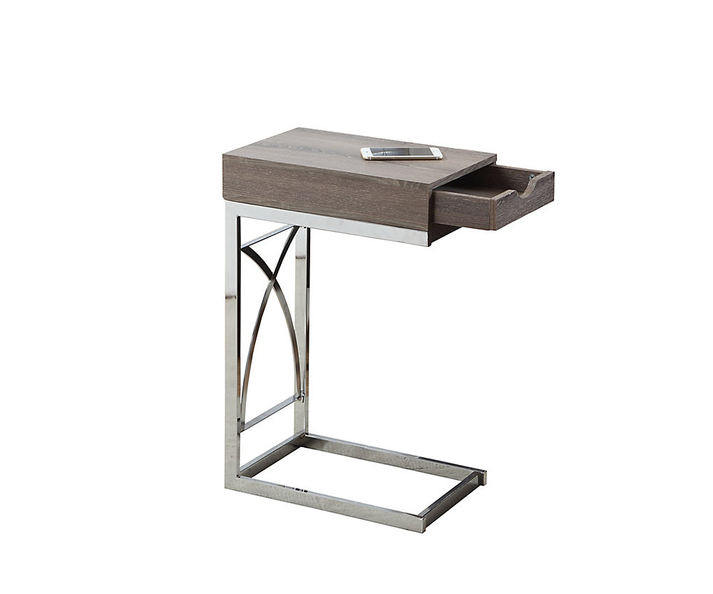 Table D'Appoint - Metal Chrome / Taupe Fonce Et Tiroir