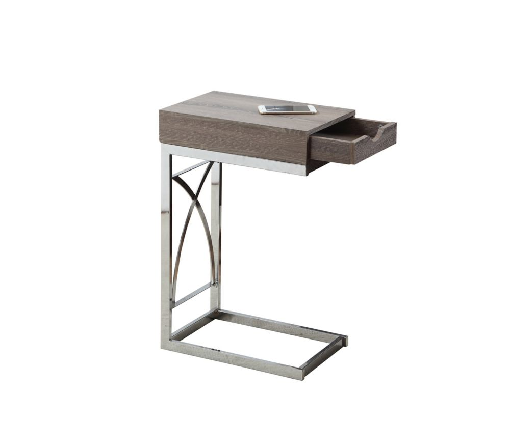 Monarch Specialties Accent Table - Chrome Metal / Dark Taupe With A Drawer
