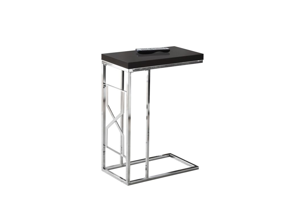 Monarch Specialties Accent Table - Cappuccino / Chrome Metal