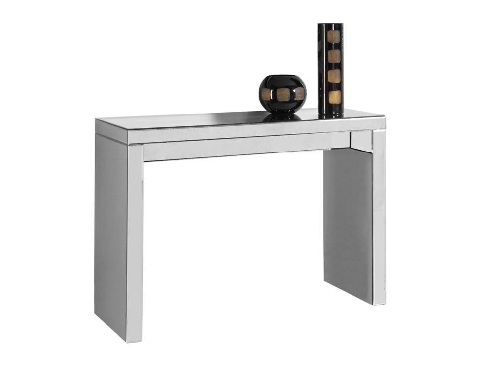 Monarch Specialties Tempered Glass Console Table with Dark Taupe Top