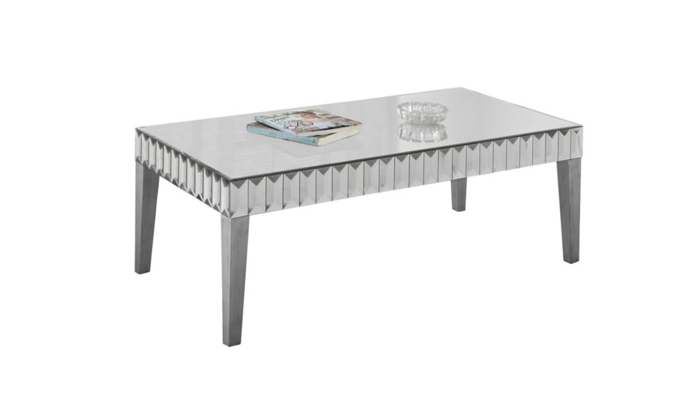 Monarch Specialties Coffee Table - 48 Inch X 24 Inch / Brushed Silver / Mirror