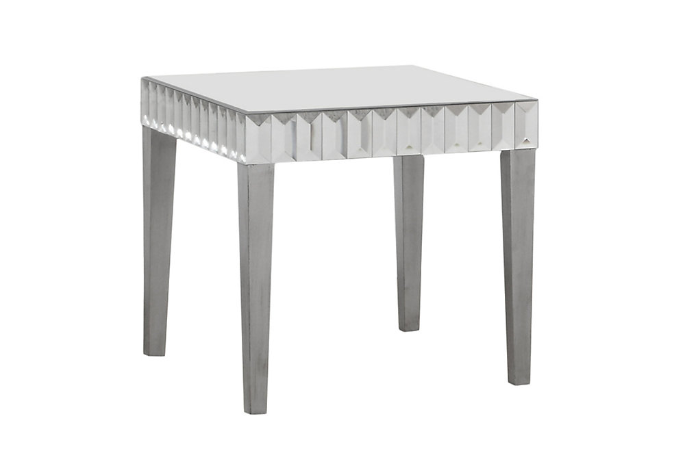 End Table - 24 Inch X 24 Inch  / Brushed Silver / Mirror