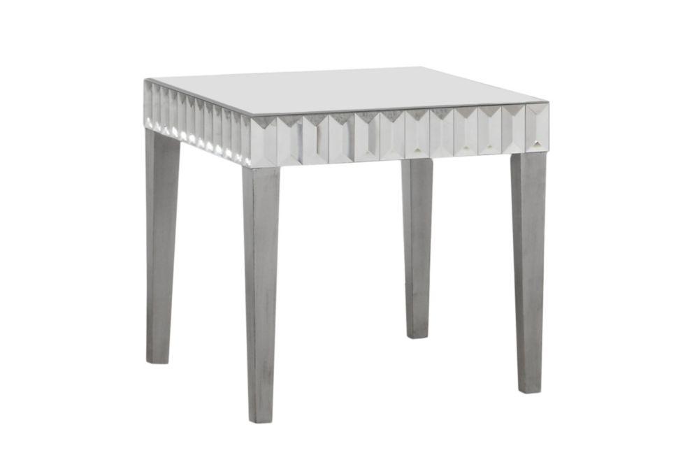 """Table De Bout - 24""""X 24"""" / Argent Brosse / Miroir"""