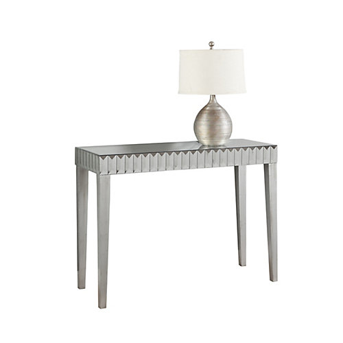 monarch specialties console table - 42 inch l / brushed silver