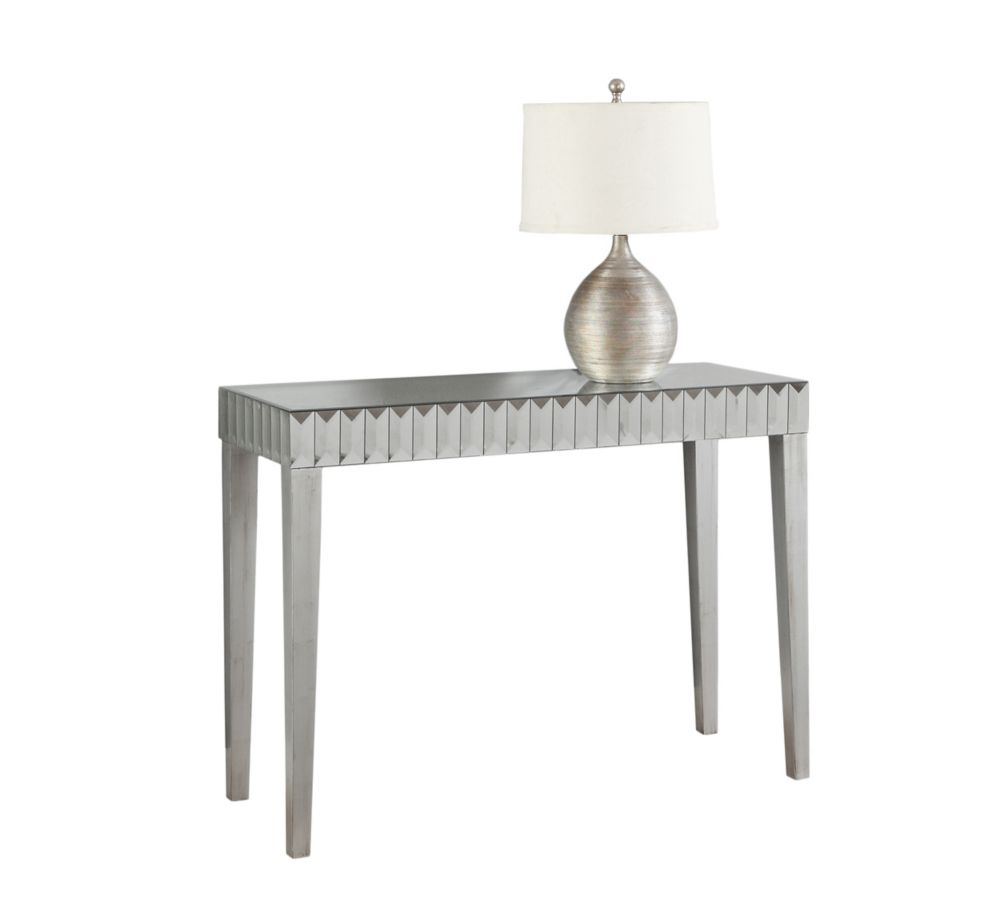 Console Table - 42 Inch L / Brushed Silver / Mirror