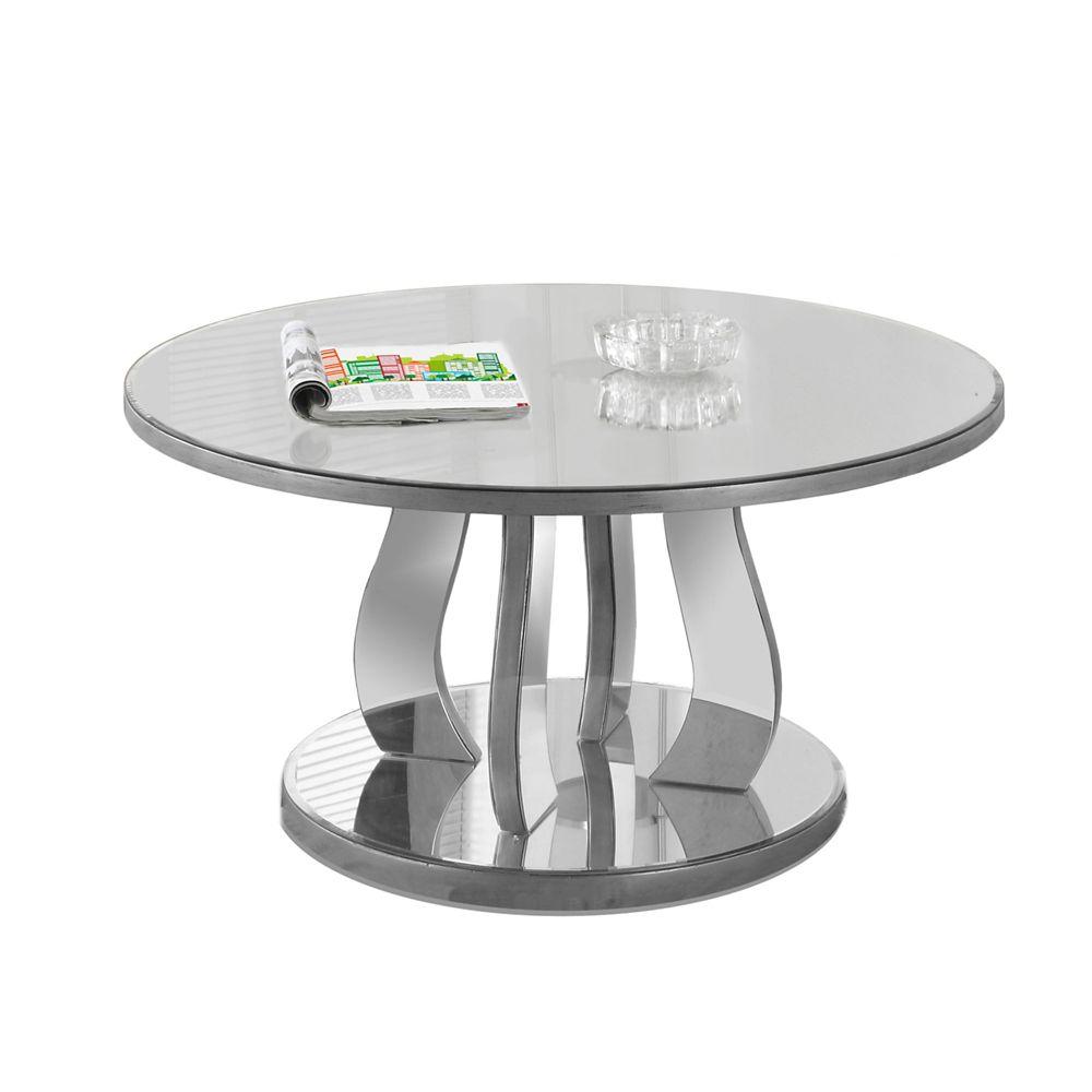 """Table De Salon - 36""""Dia / Argent Brosse / Miroir"""