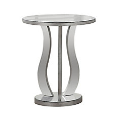 End Table - 20 Inch Dia / Brushed Silver / Mirror