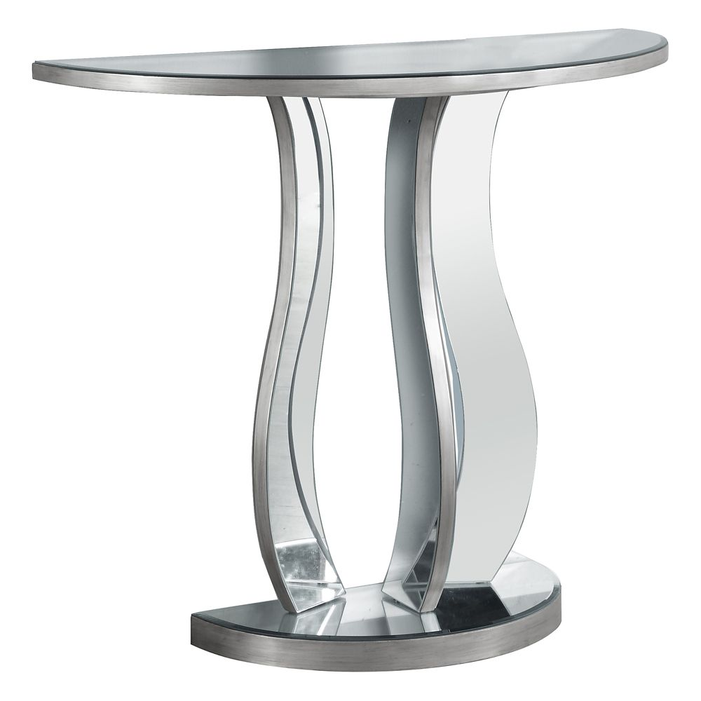 Console Table - 36 Inch L / Brushed Silver / Mirror