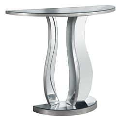 Monarch Specialties Console Table - 36 Inch L / Brushed Silver / Mirror