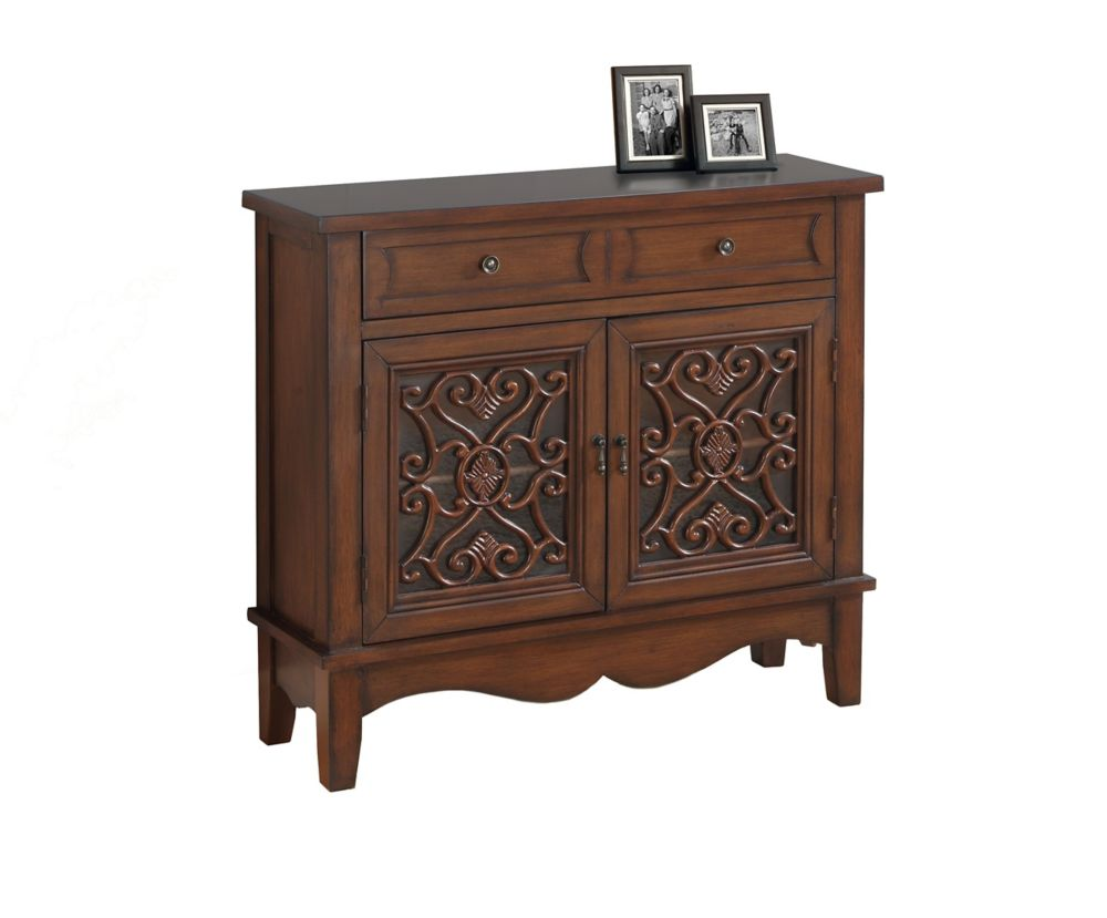 Accent Chest - Dark Walnut / Glass Traditional Style