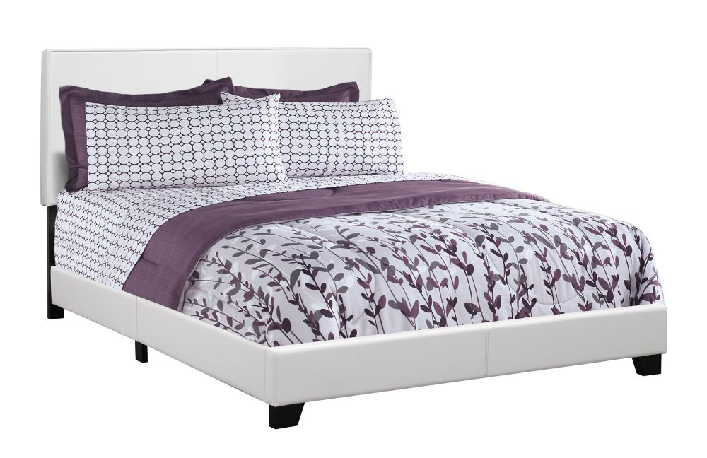 Monarch Specialties Bed - Queen Size / White Leather-Look Fabric