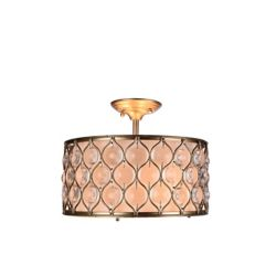 Home Decorators Collection 3-Light 60W Gold Semi-Flushmount Light with Metal and Glass Patterned Shade