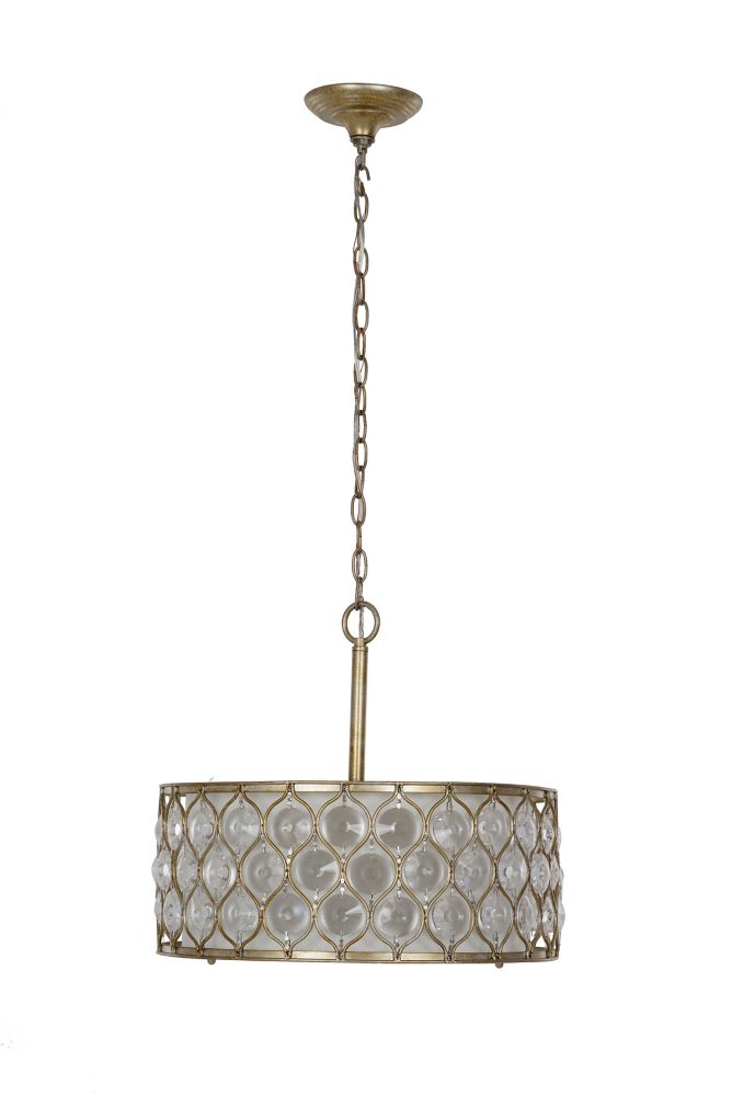Home Decorators Collection 3-Light 60W Gold Drop Pendant with Metal and Glass Patterned Shade