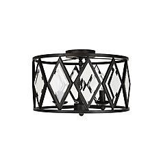Maria Diamond 15-inch Flushmount Ceiling Light in Bronze Finish