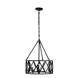 Home Decorators Collection Maria Diamond 3-Light 60W Bronze Pendant with Beveled Glass Accented Shade