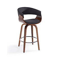 Holt Metal Walnut Parson Armless Bar Stool with Grey Faux Leather Seat