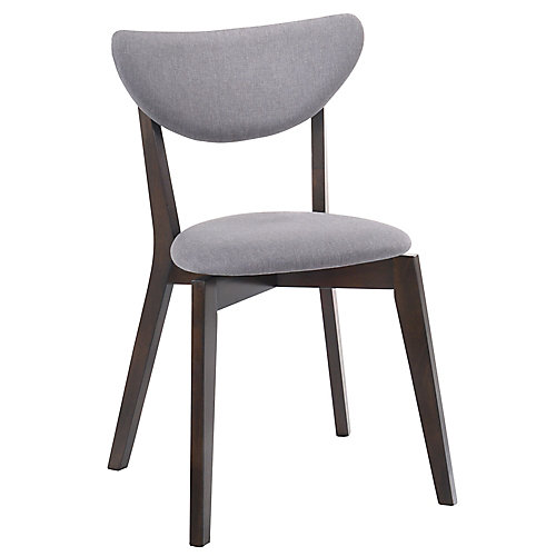 Kokia Wood Walnut Parson Armless Dining Chair with Grey Fabric Seat - (Set of 2)