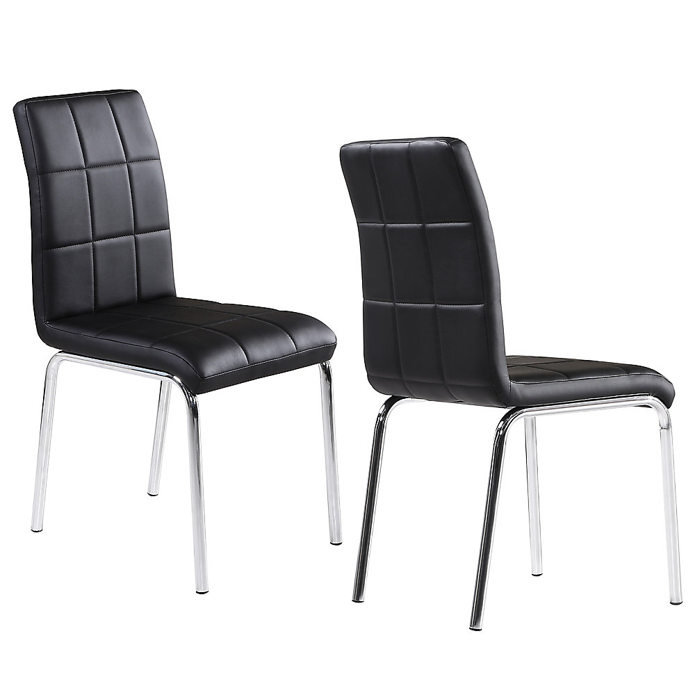 Solara II Wood and Chrome Parson Armless Dining Chair with Black Leather Seat - (Set of 4)