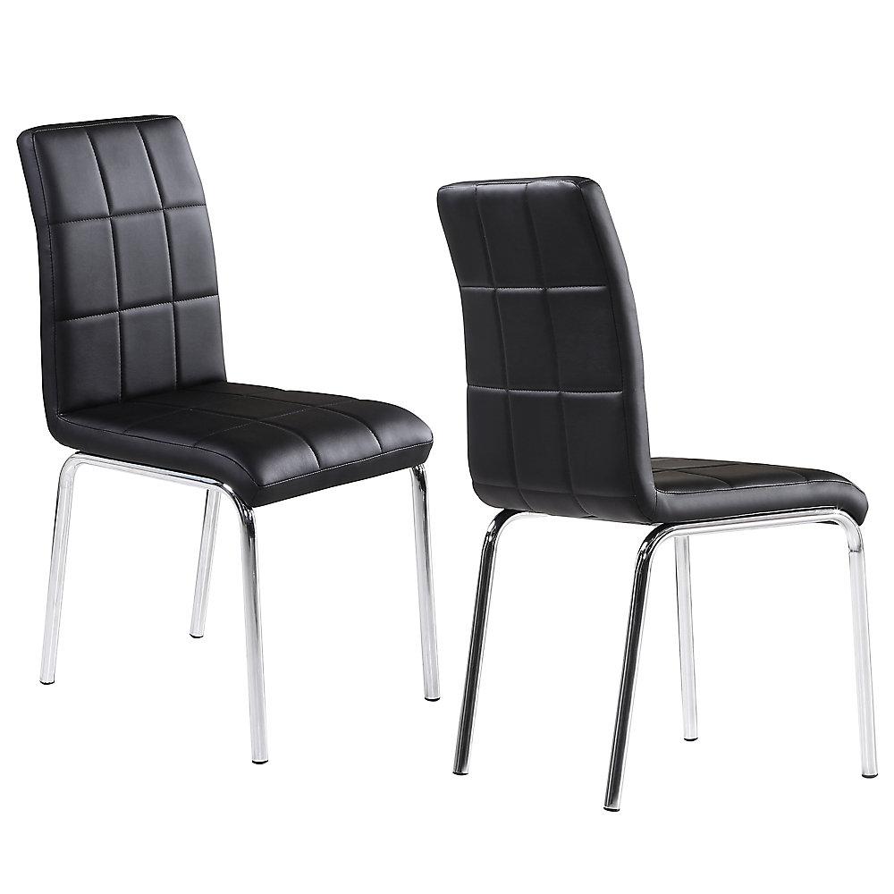 Chaise Parson sans accoudoirs Solara II, bois et chrome, siège cuir noir, ens. de 4