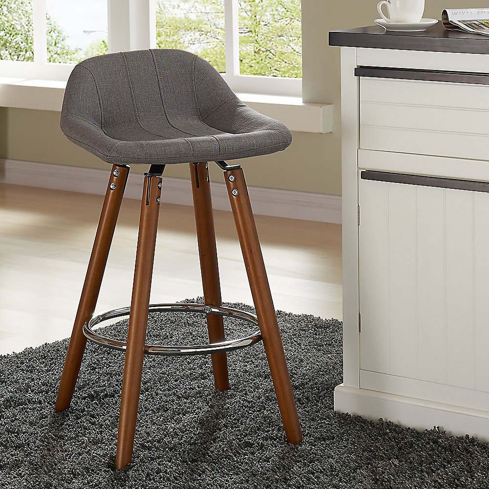 Camaro Solid Wood Walnut Parson Armless Bar Stool With Grey Fabric Seat Set Of 2