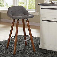 Camaro Solid Wood Walnut Parson Armless Bar Stool with Grey Fabric Seat - Set of 2