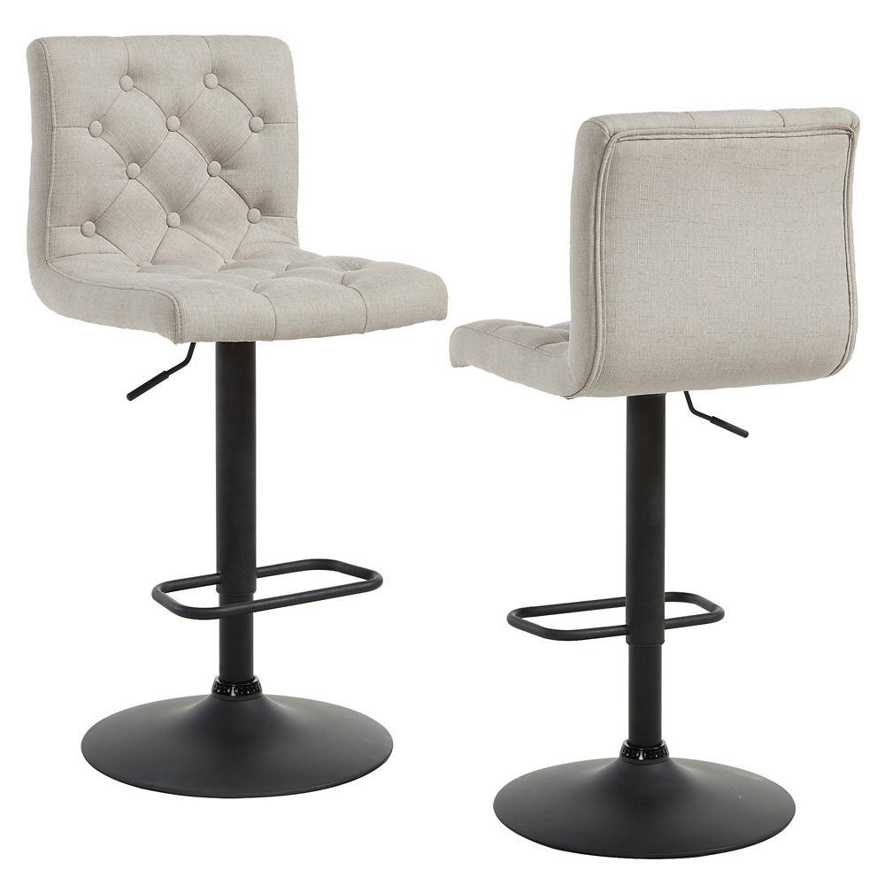 Solid Wood Chrome Parson Armless Bar Stool with Beige Solid Wood Seat - Set of 2
