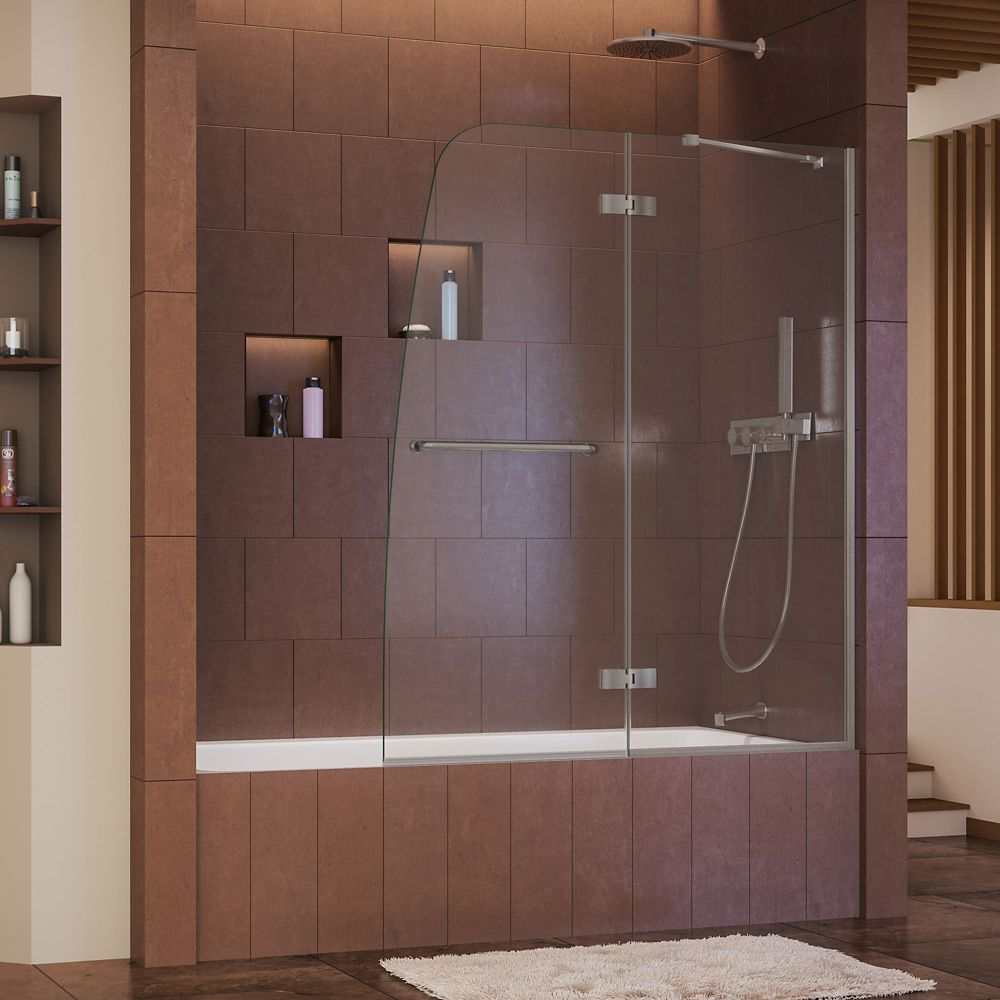 DreamLine Aqua Ultra 48-inch x 58-inch Semi-Frameless Pivot Tub/Shower Door in Brushed Nickel with Handle