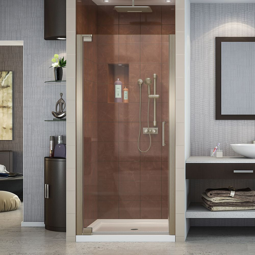 DreamLine Elegance 32-1/4-inch to 34-1/4-inch x 72-inch Semi-Frameless Pivot Shower Door in Brushed Nickel