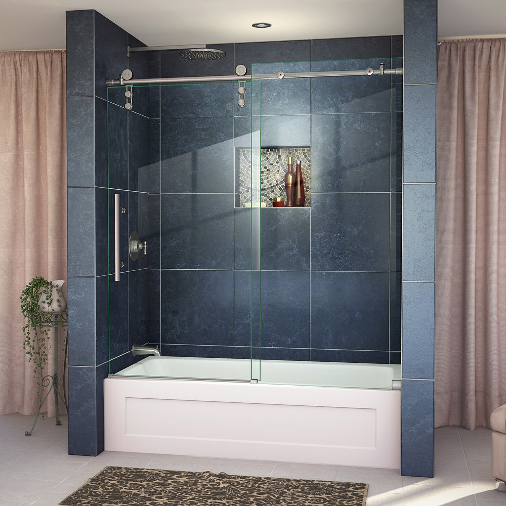 DreamLine Enigma-Z 56-inch x 62-inch Frameless Sliding Tub Door in Brushed Stainless Steel with Handle