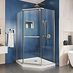 DreamLine Prism 34-1/8-inch x 72-inch Semi-Frameless Corner Pivot Shower Enclosure in Brushed Nickel with Handle
