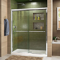 Duet 56-inch to 60-inch x 72-inch Semi-Frameless Bypass Sliding Shower Door in Chrome