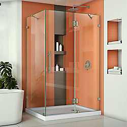 DreamLine Quatra Lux 46-5/16-inch x 34-5/16-inch x 72-inch Frameless Corner Hinged Shower Enclosure in Brushed Nickel