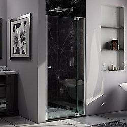 Allure 36-inch to 43-inch x 73-inch Semi-Frameless Pivot Shower Door in Chrome