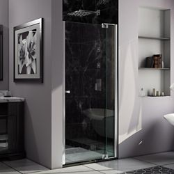 DreamLine Allure 36-inch to 43-inch x 73-inch Semi-Frameless Pivot Shower Door in Chrome