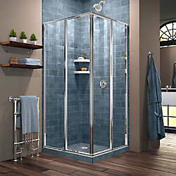 DreamLine Cornerview 34-1/2-inch x 72-inch Framed Corner Sliding Shower Door Enclosure in Chrome with Handle