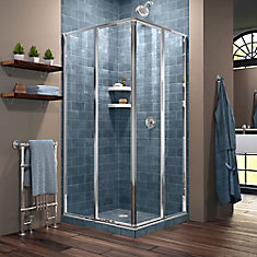 Cornerview 34-1/2-inch x 72-inch Framed Corner Sliding Shower Door Enclosure in Chrome with Handle