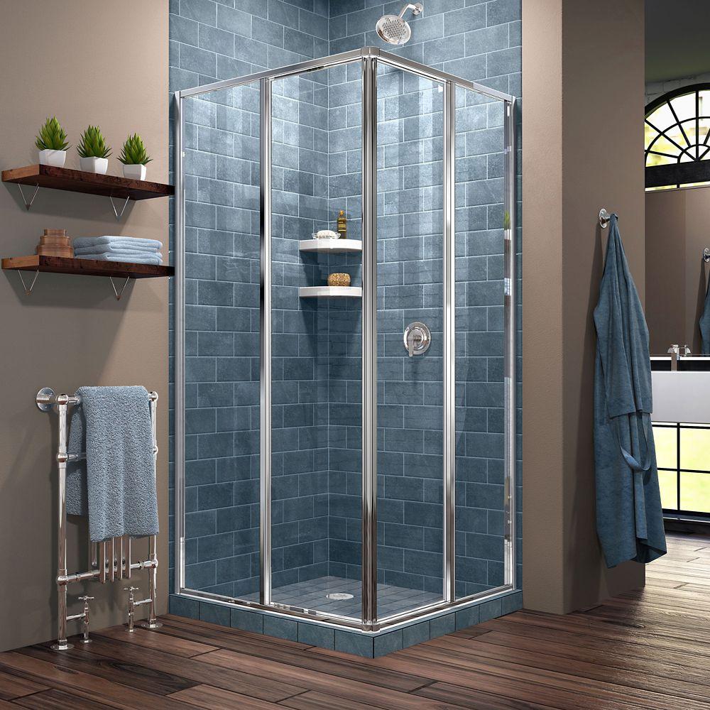 DreamLine Cornerview 34-1/2-inch x 72-inch Framed Corner Sliding Shower Door Enclosure in Chrome with Handle