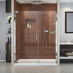 DreamLine Elegance 58-inch to 60-inch x 72-inch Semi-Frameless Pivot Shower Door in Chrome