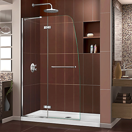 Aqua Ultra 45-inch x 72-inch Semi-Frameless Hinged Shower Door in Chrome