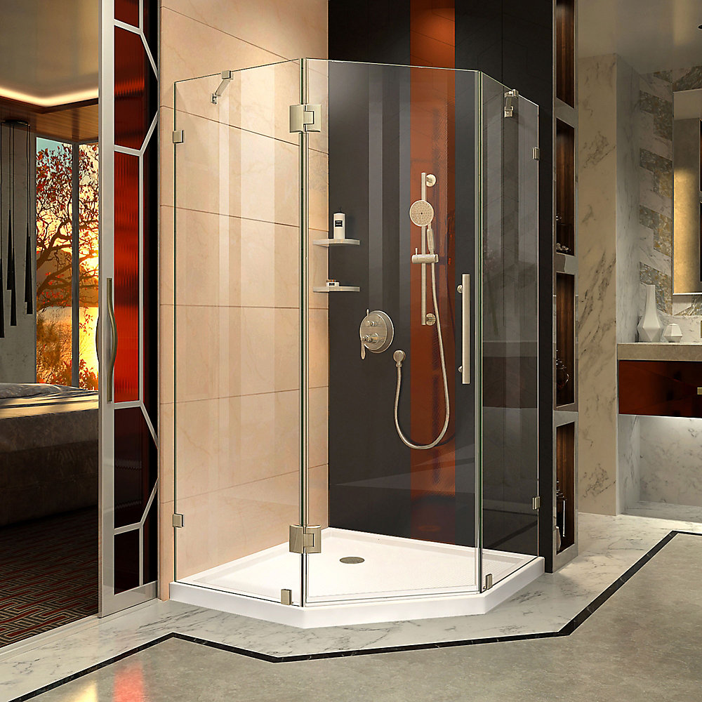 Prism Lux 34-5/16-inch x 34-5/16-inch x 72-inch Frameless Hinged Shower Enclosure in Brushed Nickel