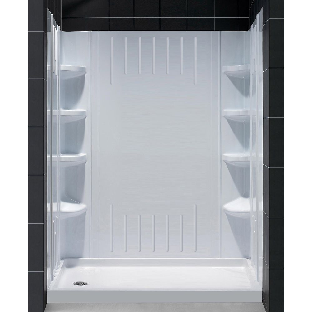 DreamLine SlimLine 32-inch x 60-inch Single Threshold Shower Base in White Left Hand Drain Base with Back Walls