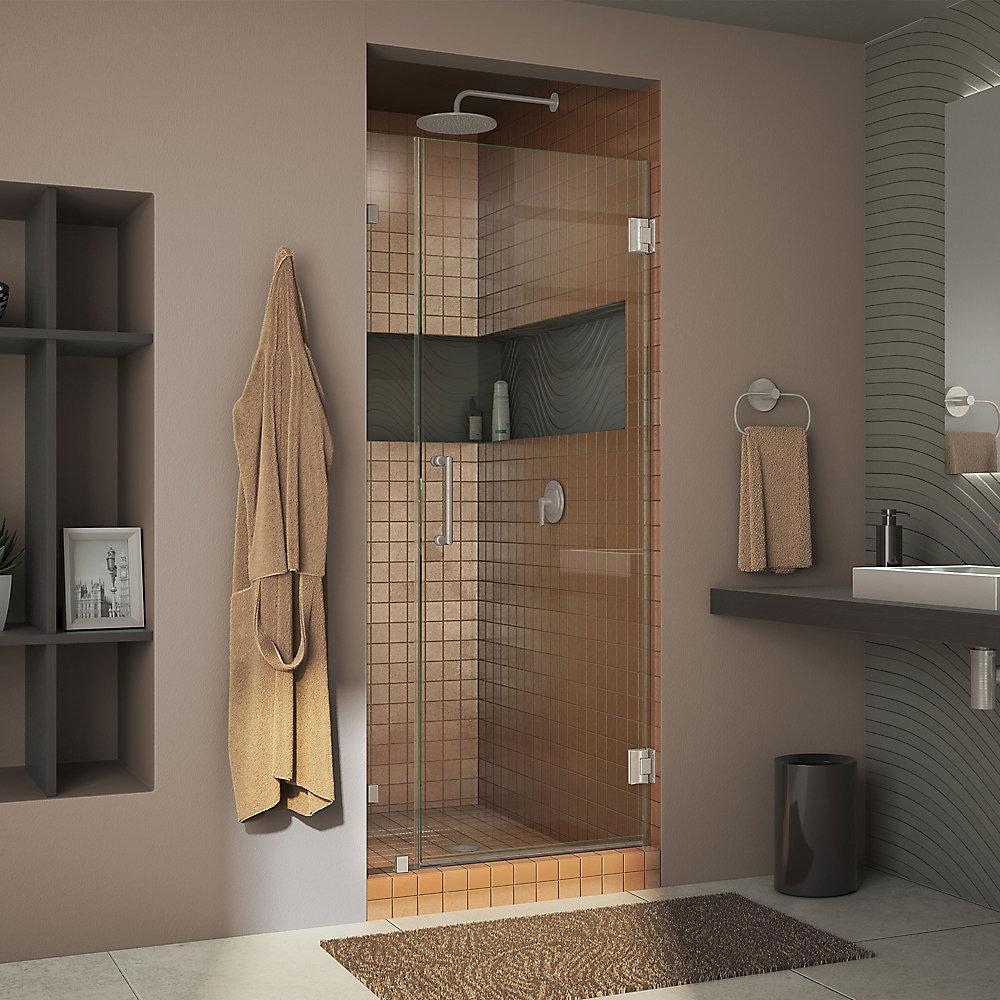 Unidoor Lux 34-inch x 72-inch Frameless Pivot Shower Door in Brushed Nickel with Handle