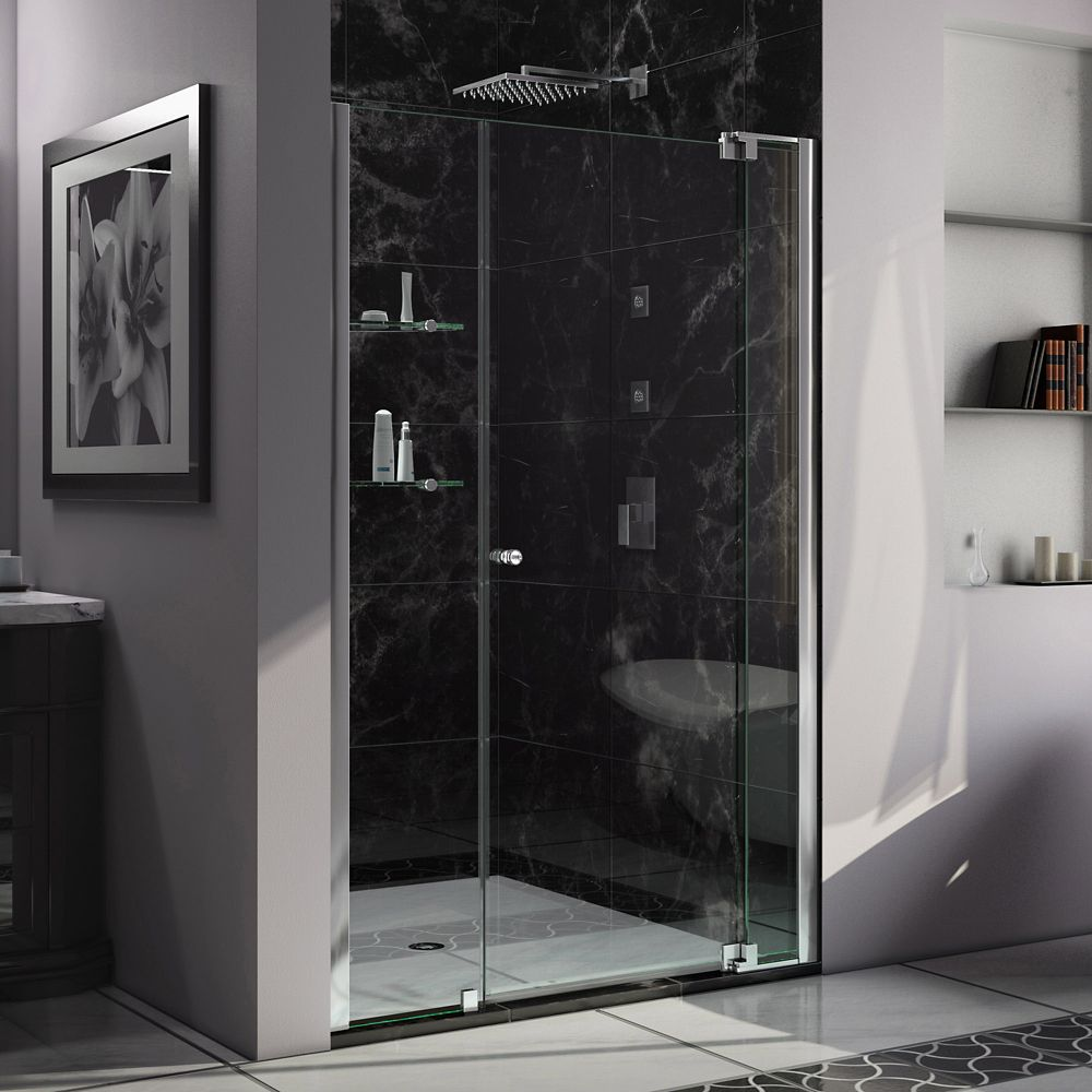 DreamLine Allure 42-inch to 49-inch x 73-inch Semi-Frameless Pivot Shower Door in Chrome