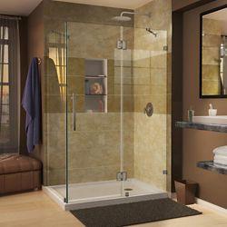 DreamLine Quatra Lux 34-5/16-inch x 34-5/16-inch x 72-inch Frameless Corner Hinged Shower Enclosure in Brushed Nickel